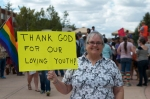 A woman shows her appreciation for youth activism at Montana State University.